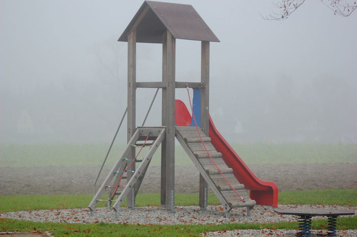 Abandoned Absence Autumn Fog Foggy Day Herbst How Do We Build The World? Nebel November Playground Spielplatz Wood - Material Wooden
