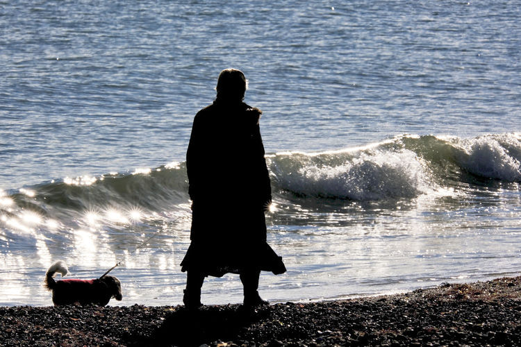 Rear view of silhouette man looking at sea