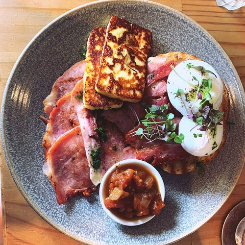 Chutney Tomato Fine Dining Brunch Toasted Bread Cheese Breakfast Haloumi Egg Bacon! Food Food And Drink Ready-to-eat Freshness Plate Table Still Life Indulgence Serving Size High Angle View Temptation Indoors  Sweet Food No People Directly Above Meal Wellbeing Close-up