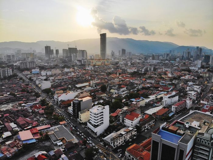 Aerial sunset view at georgetown city, penang