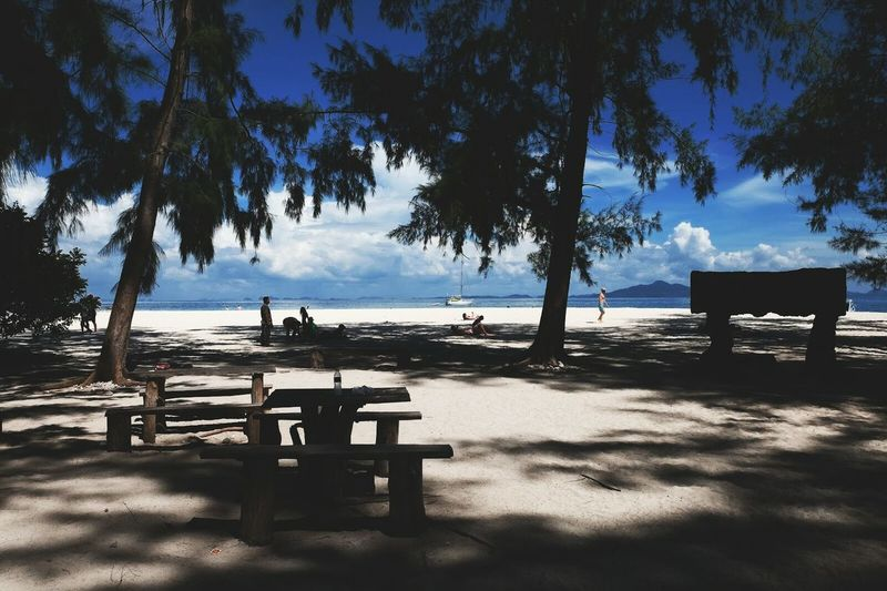 Picnic tables on beach at koh phi phi island