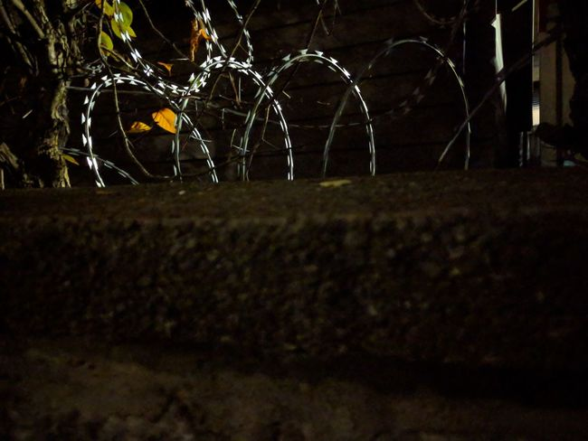 Barbed Wire Black Background Soccer Soccer Field Illuminated Grass