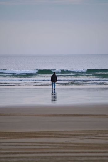 Rear view of man standing on shore at beach