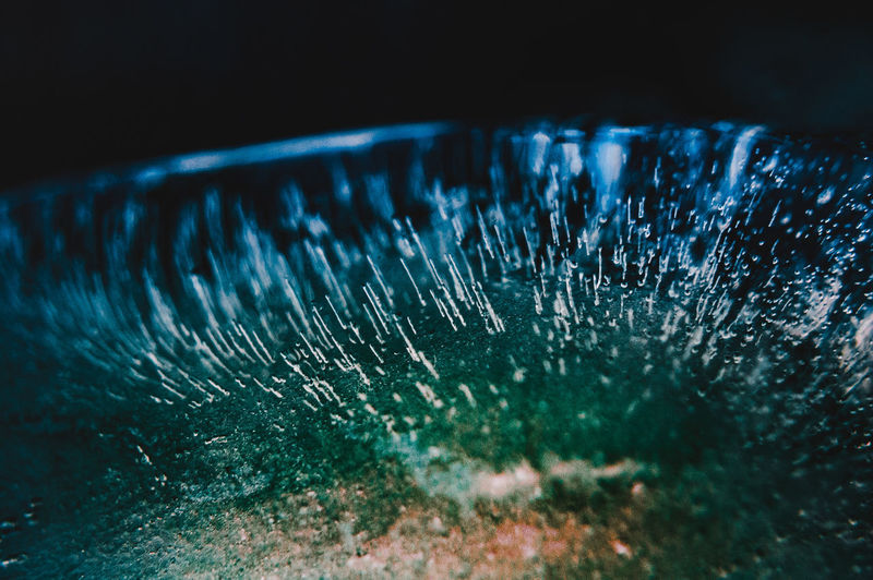 Close-up of frozen glass