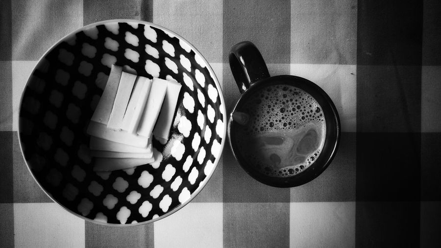 black White Dot Line Angle Surface Food And Drink Blackandwhite Bnw Bnw_friday_eyeemchallenge Minimalism Simple Photography Lessismore Shadow Table Pattern Close-up Geometric Shape Tablecloth Rectangle Prepared Food Hexagon Checked
