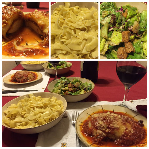 Last night I made Chicken Parmesan with sides of salad and buttered noodles. Served with my 2013 Chilean Cabernet Sauvignon/Merlot blended wine. ICanCookMyAssOff Nomnombomb TheExpensiveWinos MyFoodPics