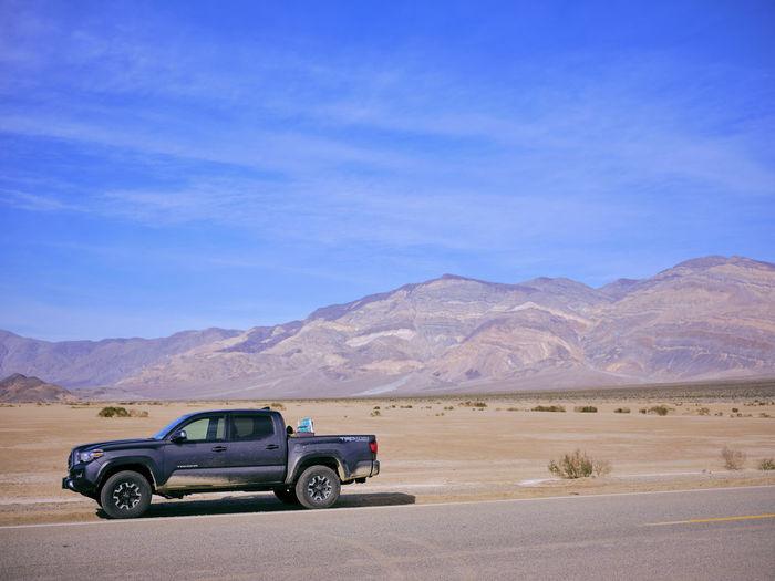 Car parked in desert