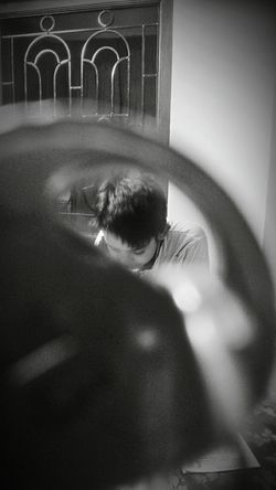 through a hole of key.... Blackandwhite EyeEm Selects EyeEm Best Shots Something Different Different Perspective Blackandwhite Photography Human Face Smart Phone Photographer Photo Therapy Close-up Light Painting