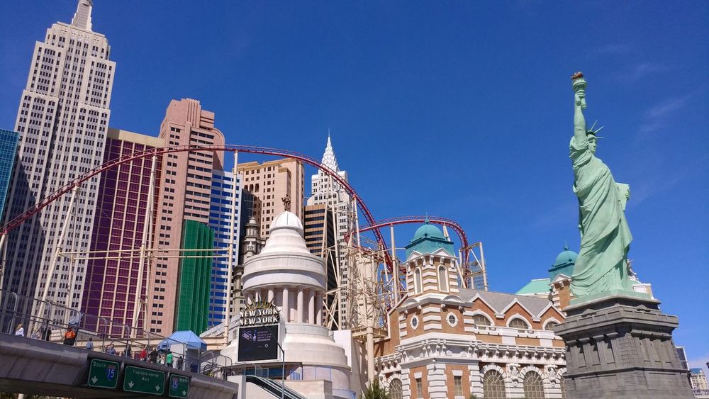 Architecture Travel Destinations Low Angle View Sky Outdoors Built Structure Blue Day City Building Exterior Statue Cityscape USA Nevada Las Vegas New York New York Casino New York New York Hotel