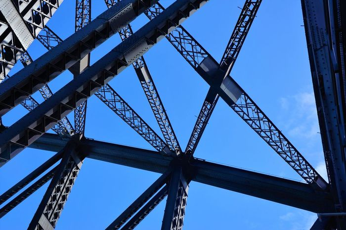 Architecture Australia Blue Bluesky Built Built Structure Clear Sky Construction Crossing Day Development Engineering Girder High Section Industry Lines Low Angle View Man Made Object Metal Metal Beams No People Outdoors Outline Sky Tall - High