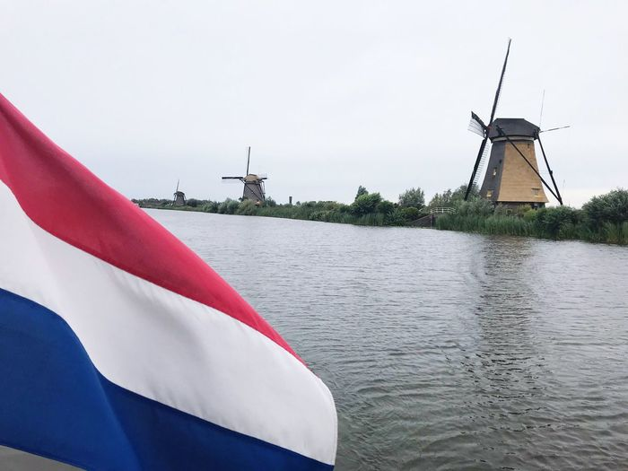 Holland Dutch Landscape Water Sky Flag Patriotism Nature No People Day