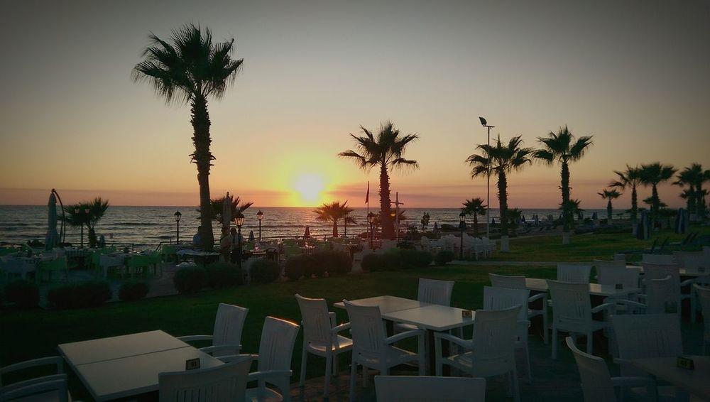 Summer Views nice sunset at Cyprus Paphos. Kefalos Beach Sunset