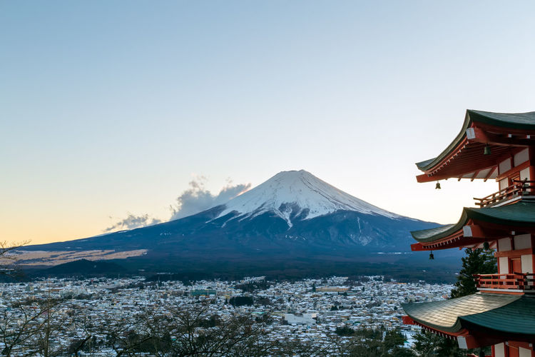 Chureito Pagoda and Fuji Mountain with evening light Sky Mountain Fuji Mt Fuji Fujisan Clear Sky No People Snow Winter Beauty In Nature Nature Snowcapped Mountain Chureito Pagoda Yamanashi Japan Japanese  Photography Sunset Travel Destinations Fujiyoshida Mount FuJi Pagoda Scenics - Nature Red Horizontal
