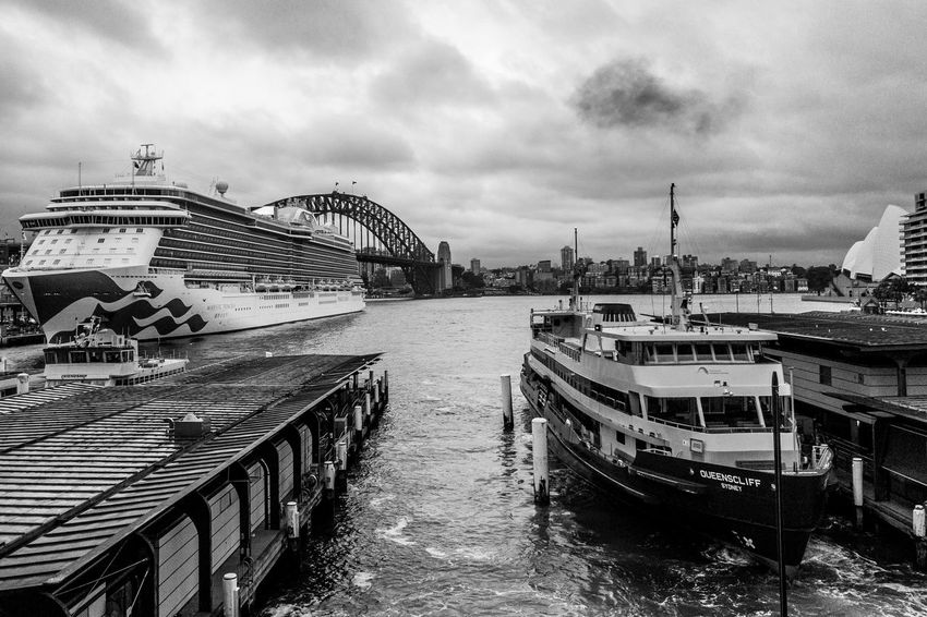 Sydney harbour Light And Shadow Black And White Monochrome Cloud - Sky Sky Water Nautical Vessel Transportation Mode Of Transportation Built Structure Architecture Sea Day Outdoors Nature City Building Exterior Harbor