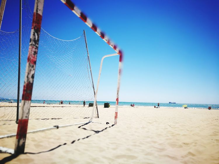EyeEm Selects futbol playa barbate sol Beach Sand Sea Blue Water Sky Day Net - Sports Equipment Outdoors Clear Sky Nature Sport Horizon Over Water Beach Volleyball No People