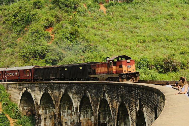 Train on railway bridge
