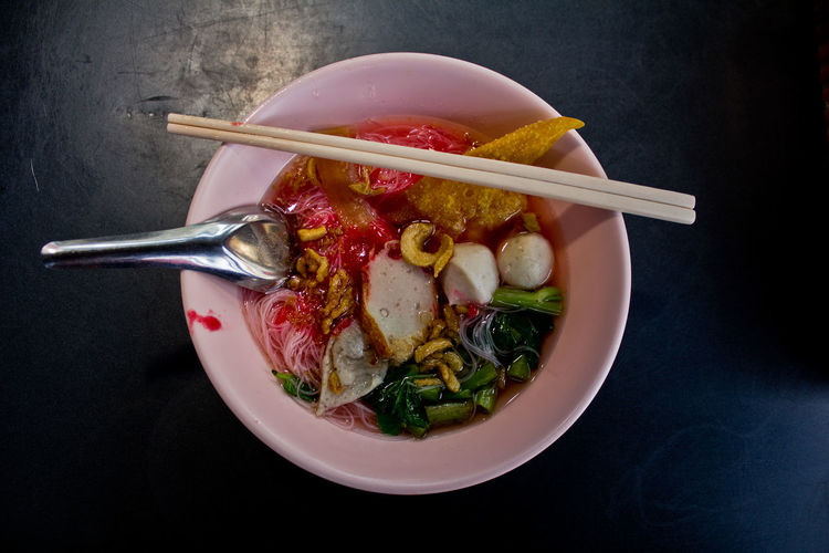 Black Background Bowl Chopsticks Day Food Food And Drink Freshness Healthy Eating Indoors  No People Ready-to-eat Spoon Studio Shot Sweet Food Yenta4 Yentafo Yentafour Thaifood