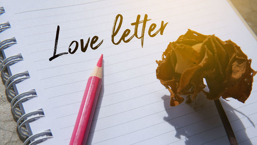 Concept image of a love letter which contain an image of a pink coloured pencil on a note word love letter and a vintage rose Love Valentine Valentine's Day  Book Close-up Communication Education Handwriting  High Angle View Indoors  Love Letter No People Page Paper Pencil Publication Red Still Life Table Text Two Objects Western Script Writing Instrument