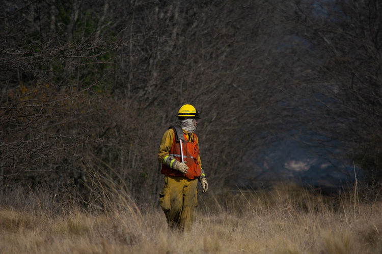 View of firefighter on field