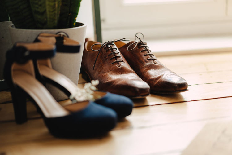 Close-up of shoes on floor
