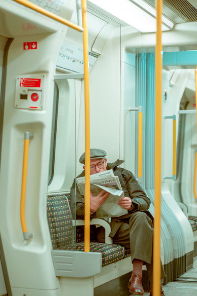 in transit People In Transit Subway Train Train - Vehicle Traveling Newspaper Reading Newspaper City City Life The Tube  London London lifestyle London Tube Train - Vehicle Subway Train Sitting Vehicle Seat Indoors  Day Mobility In Mega Cities Colour Your Horizn Adventures In The City The Street Photographer - 2018 EyeEm Awards
