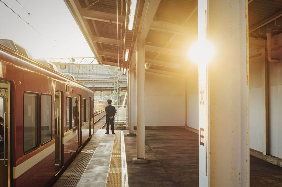 Waiting For A Train Alone Time No People Autumn Atomosphere Stopping Time Sunlight Red Train Keikyuline Keikyu Yokohama, Japan Yokohama-shi One Person Real People Transportation Standing People The Traveler - 2018 EyeEm Awards