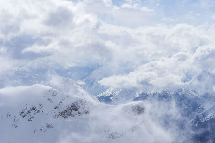 Aerial view of snow covered mountains against cloudy sky