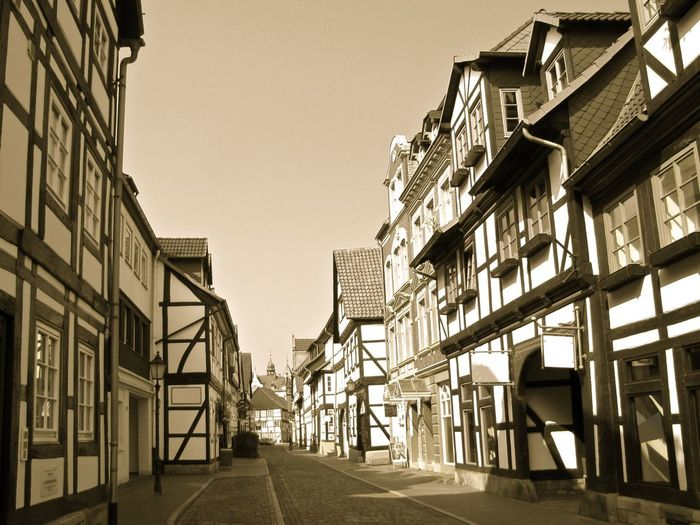 Old european town North Europe Europe Sonny Sky Outdoors House Building Town Old Town Street Black & White