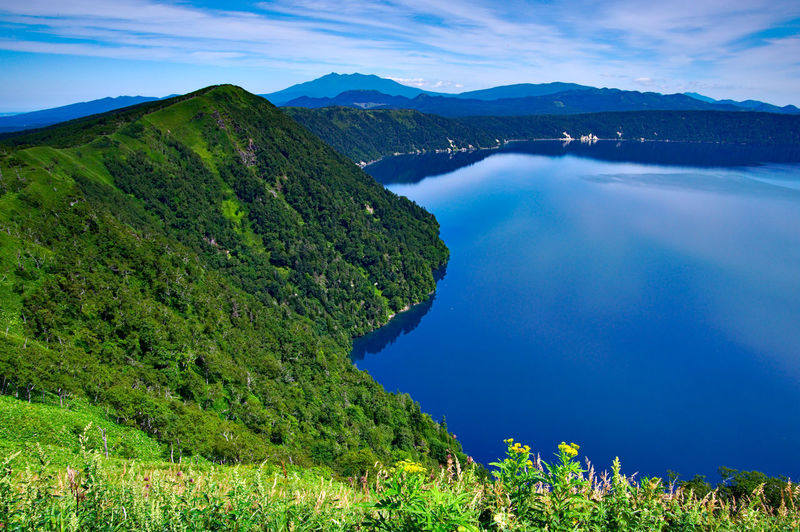 Scenic view of mountain lake against sky
