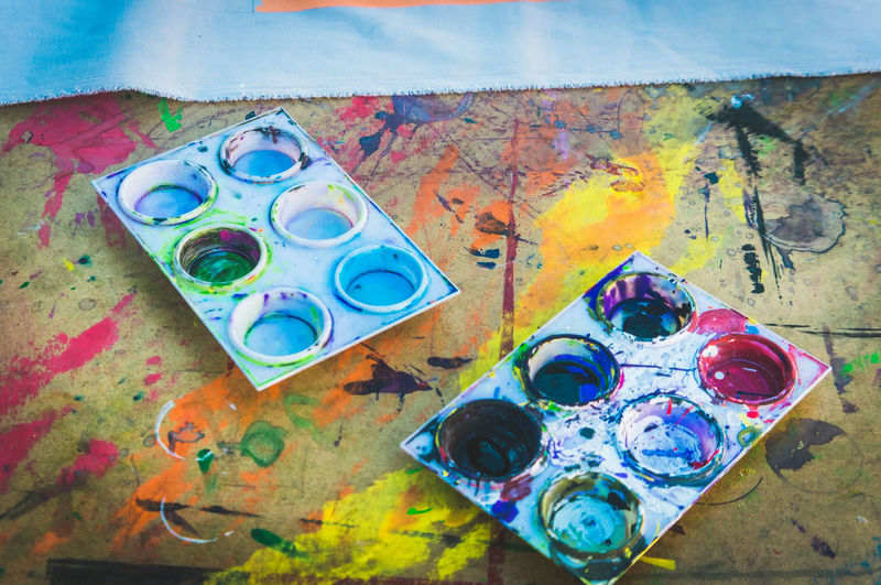 High Angle View Of Palettes On Table