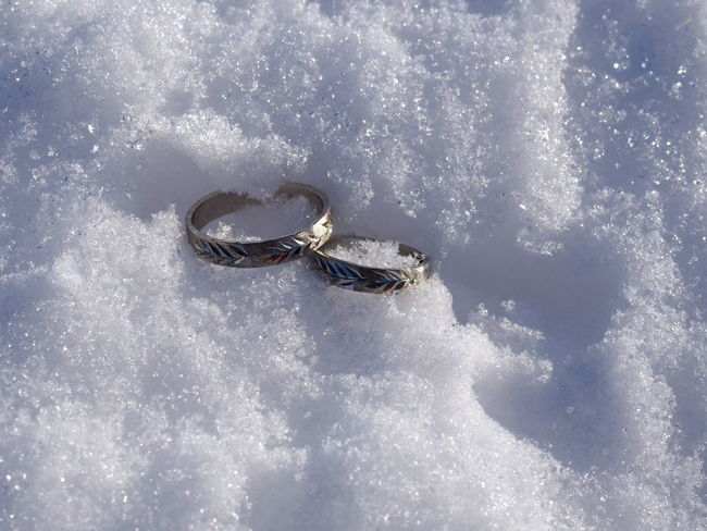 Snow Winter Cold Temperature Nature Day Emotion No People White Color Positive Emotion High Angle View Frozen Outdoors Love Beauty In Nature Sport Land Sunlight Jewelry Life Events