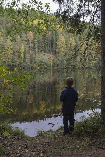 Autumn Boy Kids Kidsandnature Nature Naturelover Naturelovers Pond First Eyeem Photo