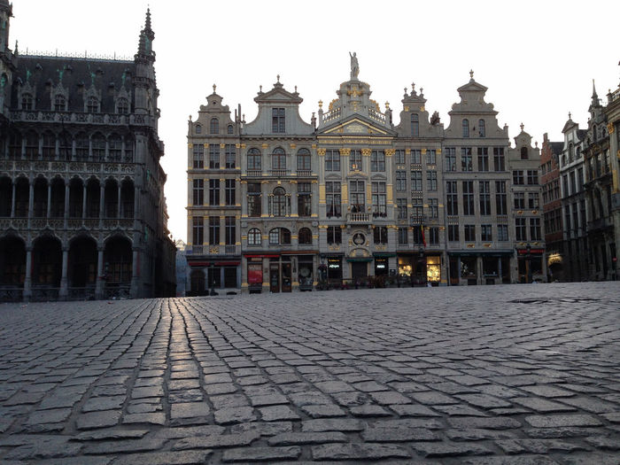 Grand Place Brussels - the morning after a football match Brussels Europe Capital Cities  Grand Place Grand Place Bruxelles Grand Place Brussels No People Early Morning Architecture Building Exterior Built Structure Cobblestone City The Past History Sky Building Travel Destinations Street Nature Town Old Travel Façade Tourism Town Square Paving Stone