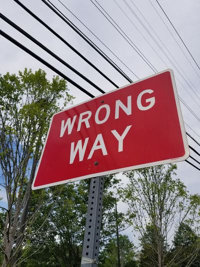 Signs Red Streetsigns Streetsign Alpharetta Alpharetta, Ga Wrong Way Wrong Way Sign Road Sign No People