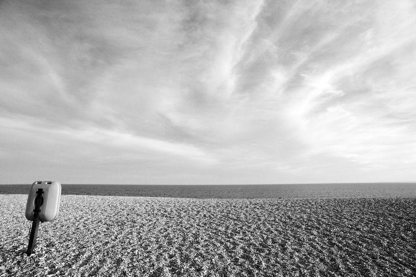 Out Of Place Pebble Beach Beach Blackandwhite Cloud - Sky Horizon Landscape Pebbles Scenics - Nature Sky Tranquil Scene Tranquility