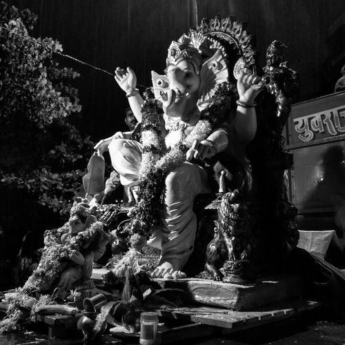 Witnessed Visarjan (immersion of Lord Ganesh idol's) yesterday. Being my first visarjan, have to say, the festival lives upto its reputation, much energy and enthusiasm felt in the streets Mumbai Festivemood Blackandwhite GaneshChaturthi Whileitsraining MumbaiDiaries Picoftheday Eeyem Mumbai