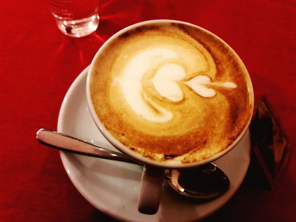 ~It's time for a break☕🍩~ Shape Of Heart Love Love ♥ Hot Drinks Spoon Drink Coffee - Drink Coffee Cup Cappuccino Frothy Drink Food And Drink Latte Table Cafe Indoors  Red Food Close-up No People