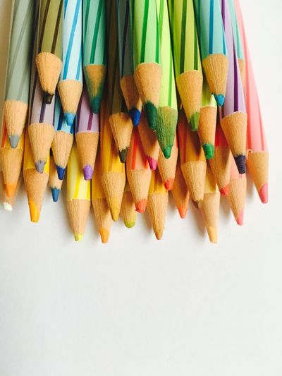 Multi Colored Still Life Pencil Colored Pencil Variation Large Group Of Objects No People Close-up Pencil Shavings Indoors  Day Colors White Background Colorful EyeEmNewHere Lieblingsteil Minimalist Architecture