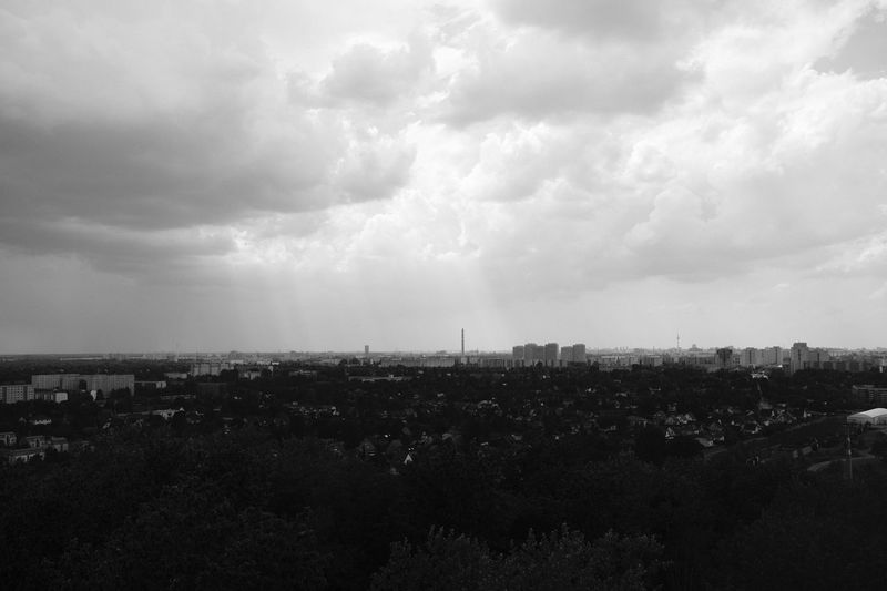 Storm over Berlin View Beautiful Sun S/w Bw Black And White Thunderstorm Dark Clouds Weather Berlin Sky Cloud - Sky Nature Architecture Built Structure Building Exterior No People Day Landscape Environment City Outdoors Horizon Over Land Tranquility Beauty In Nature Tranquil Scene Cityscape