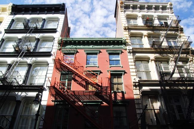 Architecture Building Exterior Built Structure Fire Escape Low Angle View Emergency Exit Staircase Steps And Staircases Emergencies And Disasters Safety Window Urgency Sky Cloud - Sky Steps Outdoors Day Residential Building No People New York City Soho Greene Street