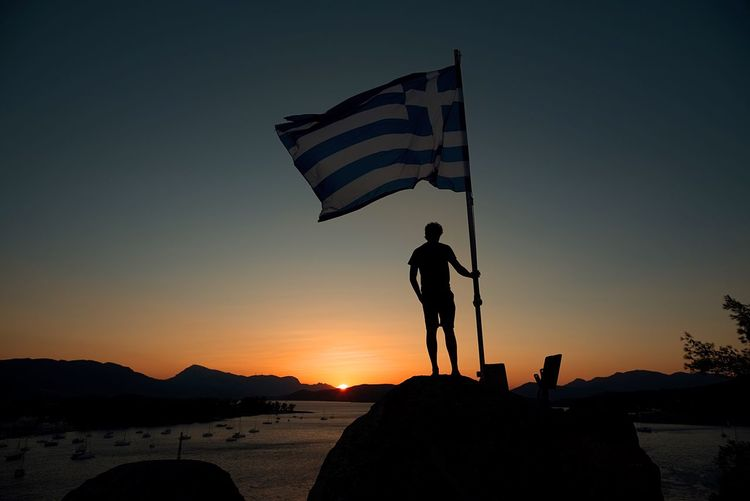 Silhouette Of Man In Greece