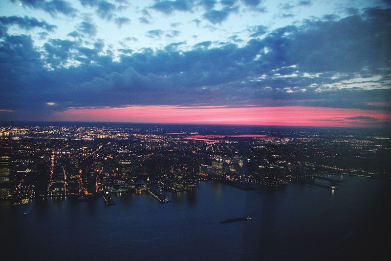 Cityscape New York City Big Apple City Architecture Building Sky Illuminated Sundown Landscape Capital Cities  Horizon Over Land Dramatic Sky Nature Beauty In Nature Orange Aerial View City Life City Lights Cities At Night Found On The Roll