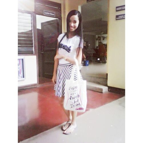 Striped skater skirt matched with a white Aeropostale shirt. :)) Ootd