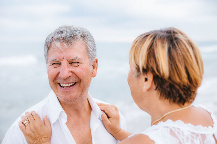 Two People Men Portrait Senior Adult Emotion Males  Headshot Smiling Leisure Activity Happiness Adult Sea Togetherness Bonding Senior Men Water Lifestyles Real People People Positive Emotion Couple - Relationship