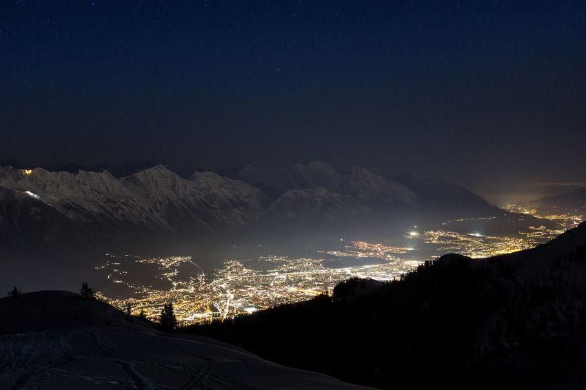 Innsbruck my city Stars Austria ❤ Innsbruck Austria Landscape City EyeEm EyeEm Selects Mountains Illuminated No People Outdoors Cold Temperature Winter Snow Scenics Night Tranquil Scene Snowcapped Mountain