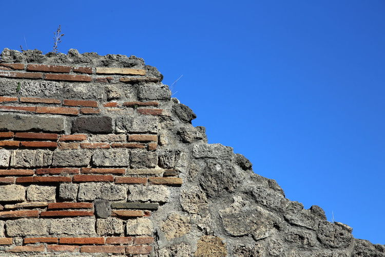Sample roman masonry with blue sky in the background