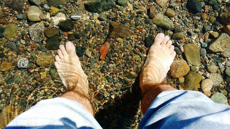 Directly Above View Of Man Feet In Shallow Water