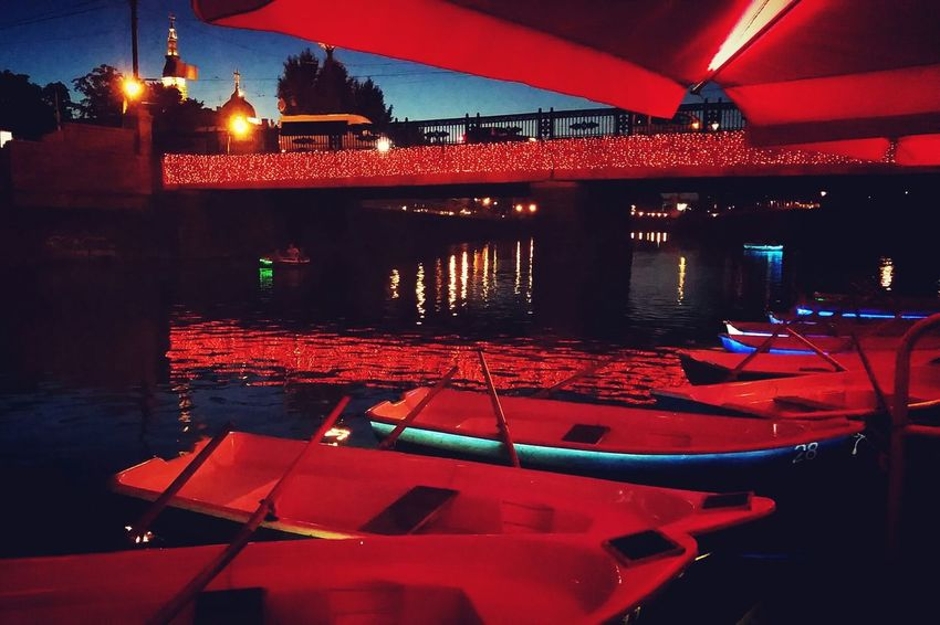 Boats Ukraine Kharkiv Night Nightlights Red