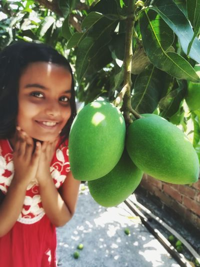 Mango Tree Portrait Smiling Fruit Looking At Camera Happiness Women Childhood Young Women Healthy Lifestyle