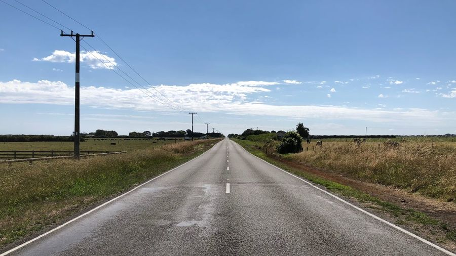 Road On Field Against Sky